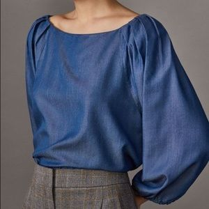 Massimo Dutti pleated shoulder chambray blouse